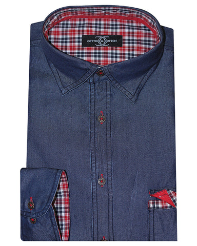 Cotton & Cotton Solid Casual Denim Shirt
