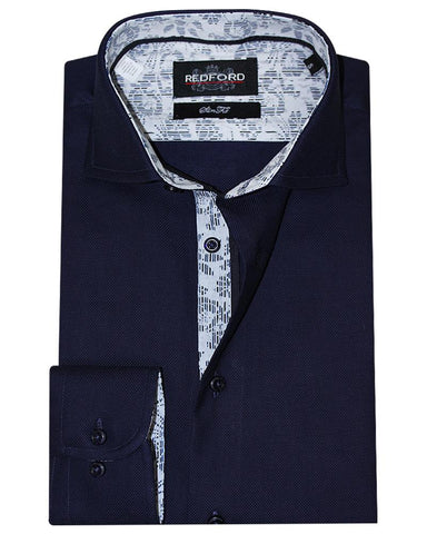 Redford Navy Pinpoint Causal Shirt