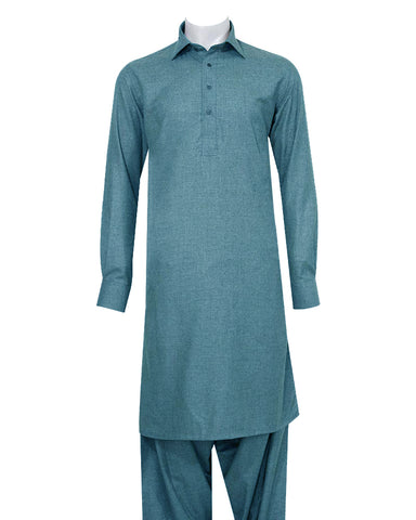 Poly Viscose Orange Label Ocean Blue Shalwar Kameez