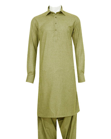Poly Viscose Orange Label Olive Shalwar Kameez