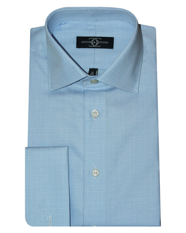Pure Cotton Check Sky DO Formal Shirt