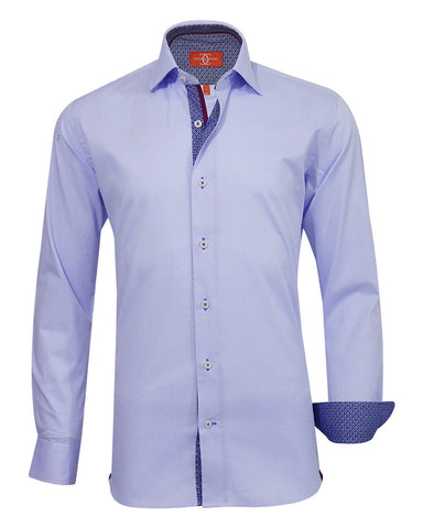 Pure Cotton Solid Sky DO Casual Shirt