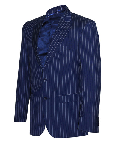 Tropical Stripes Blue Plain Suit Jacket