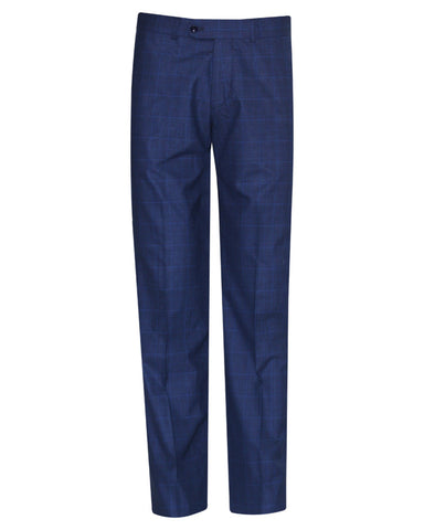 Tropical Glen check Blue Plain Suit Pant