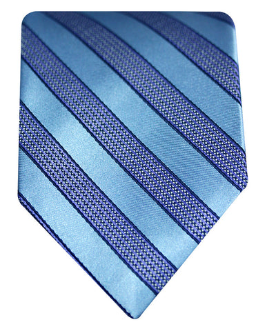 Pure Silk Awning Stripes Topaz Blue Silk Tie