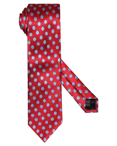 Pure Silk Bead And Reel Rio Red Silk Tie
