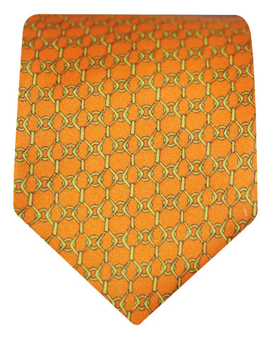 Silk Golden Rod Printed Diamond Chain Tie