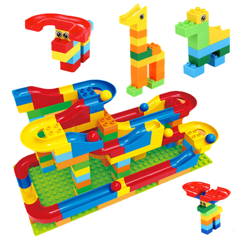 Crazy Ball Marble Run Creative Builder Set - 73 Pieces ( compatible with lego duplos)