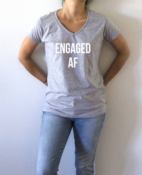 FashionEnemyShirt - Engaged AF - V-Neck T-shirt for Women