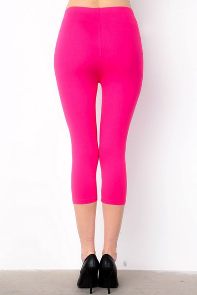 Summer Fun Butter Soft Capri Leggings in Fuchsia - Essentially Elegant