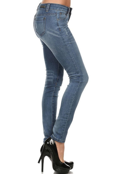 Rock & Royal Mid Rise Stretch Skinny Jeans - Medium Wash - Essentially Elegant
