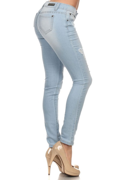 Rock & Royal Mid Rise Ripped Stretch Skinny Jeans - Light Wash - Essentially Elegant