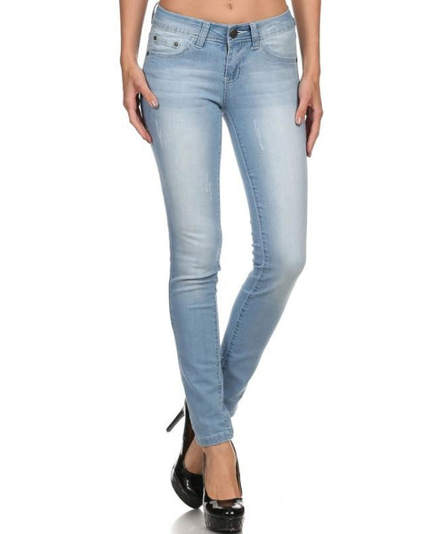 Rock & Royal Mid Rise Stretch Skinny Jeans -  Light Wash - Essentially Elegant