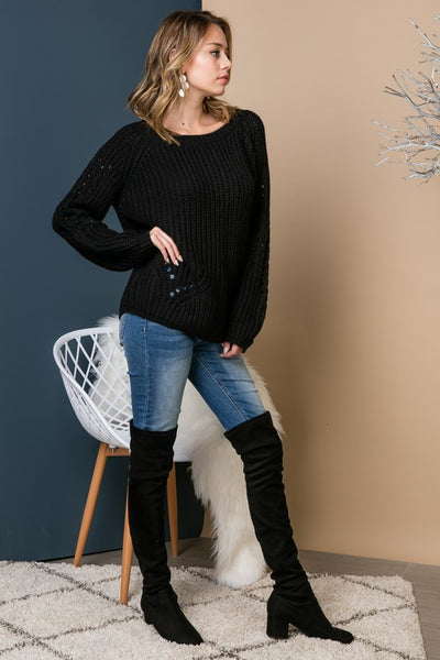 Cozy Up Long Sleeve Sweater - Black - Essentially Elegant