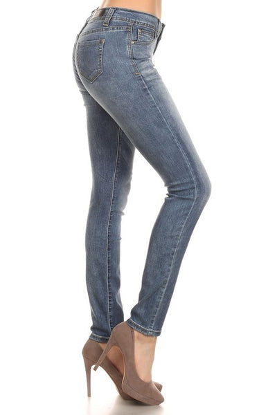 Rock & Royal Mid Rise Stretch Skinny Jeans - Medium Blue Denim - Essentially Elegant