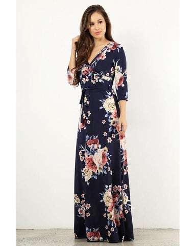 Wrapped in Luxury Floral Print Faux Wrap Maxi Dress with 3/4 Sleeves & Waist Tie in Navy - Essentially Elegant