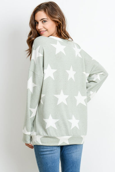 Shoot for the Stars Sage Sweatshirt Top - Essentially Elegant