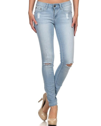 Rock & Royal Mid Rise Distressed Skinny Jeans - Light Wash - Essentially Elegant