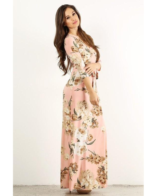 Wrapped in Luxury Floral Print Faux Wrap Maxi Dress with 3/4 Sleeves & Waist Tie in Peach