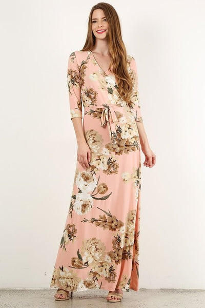 Wrapped in Luxury Floral Print Faux Wrap Maxi Dress with 3/4 Sleeves & Waist Tie in Peach - Essentially Elegant