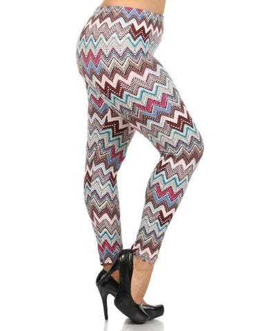Brown and Pink Chevron Pattern Butter Soft Print Leggings - Essentially Elegant
