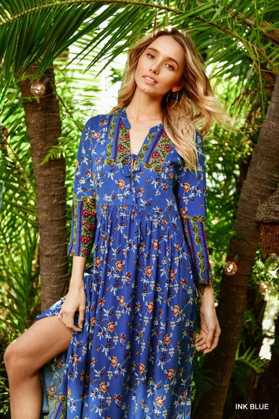 Jodifl Boho Floral Neck Tie Maxi Dress in Ink Blue