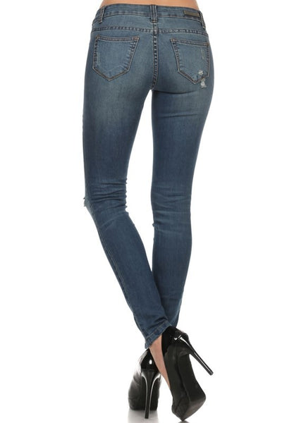 Rock & Royal Mid Rise Distressed Skinny Jeans - Medium Wash - Essentially Elegant