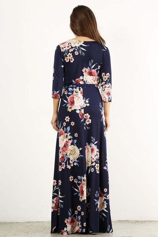 2d96ed47373a ... Wrapped in Luxury Navy Floral Print Faux Wrap Maxi Dress with 3/4  Sleeves and ...