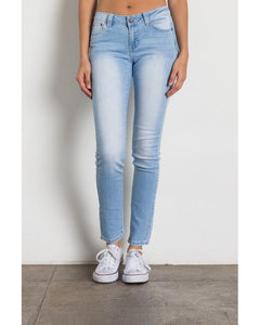 Rock & Royal Mid Rise Solid Stretch Skinny Jeans - Light Wash - Essentially Elegant