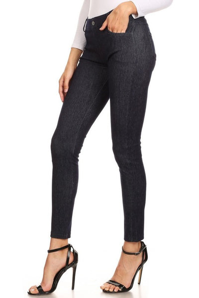 Yelete 5 Pocket Soft Knit Skinny Jeggings in Dark Blue Denim