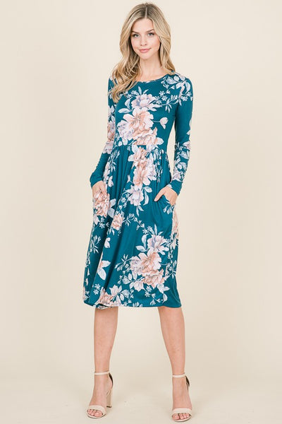 Step It Up Floral Print Midi Dress with Long Sleeves and Pockets in Teal - Essentially Elegant