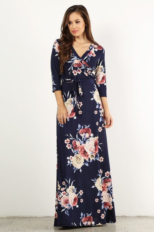 22dcd99fcf50 ... Wrapped in Luxury Navy Floral Print Faux Wrap Maxi Dress with 3/4  Sleeves and