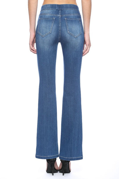 Cello Mid Rise Pull On Deluxe Comfort Flare Jeans with Surplus Pockets - Medium Wash - Essentially Elegant