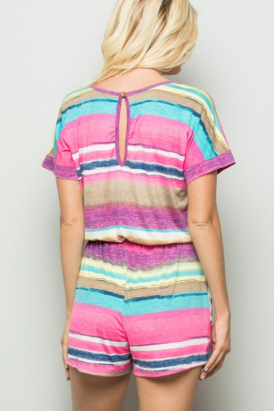 Coming Soon! Sassy in Stripes Multi Color Print Romper - Essentially Elegant