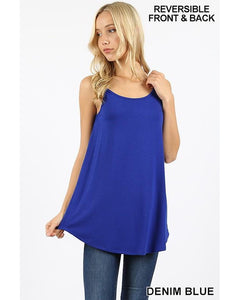 Best Basics Spaghetti Strap Reversible Tank Top in Denim Blue - Essentially Elegant