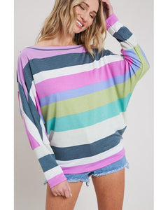Spring Fling Striped Long Sleeve Dolman Top in Lavender - Essentially Elegant