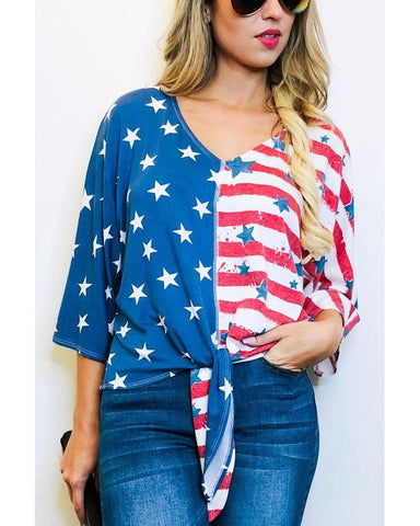 Stars and Stripes Forever Tie Front Top