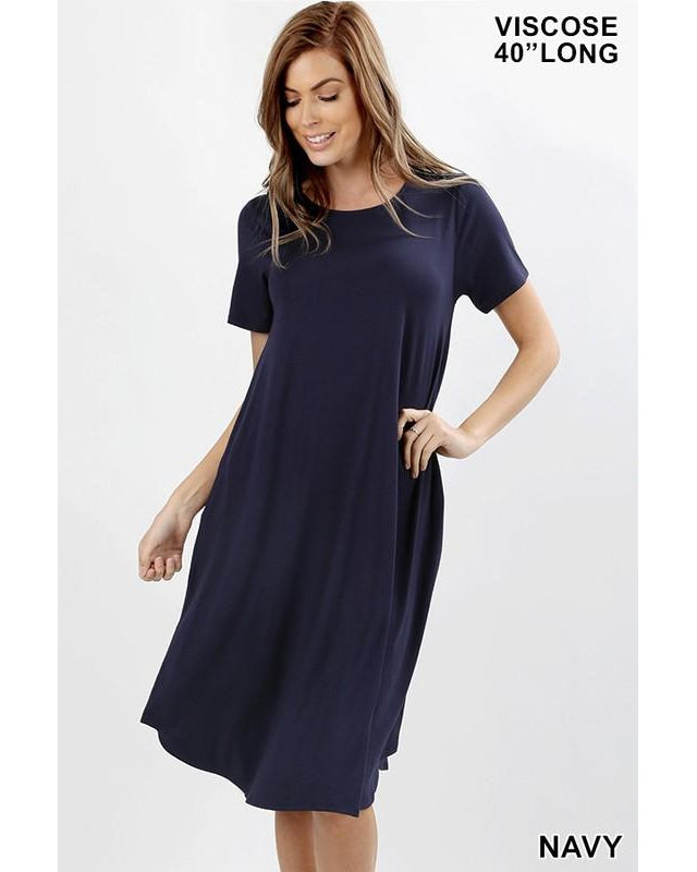 Keeping It Casual Short Sleeve Round Neck A-Line Midi T-Shirt Dress with Pockets in Navy - Essentially Elegant
