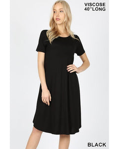 Keeping It Casual Short Sleeve Round Neck A-Line Midi T-Shirt Dress with Pockets in Black - Essentially Elegant