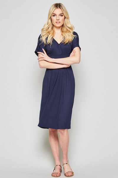 Making Time Butter Soft Short Sleeve Midi Dress in Navy - Essentially Elegant