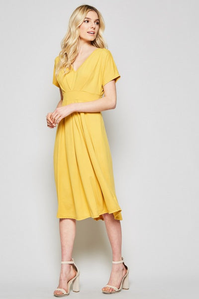 Making Time Butter Soft Short Sleeve Midi Dress in Marigold - Essentially Elegant