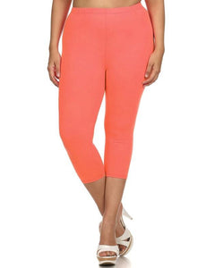Summer Fun Butter Soft Capri Leggings in Coral - Essentially Elegant