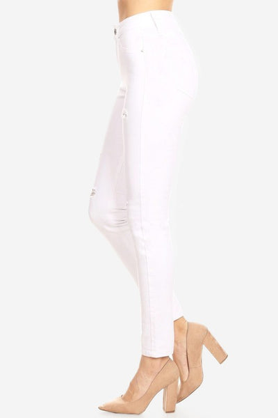 Hammer High Rise Distressed Skinny Jeans - White - Essentially Elegant