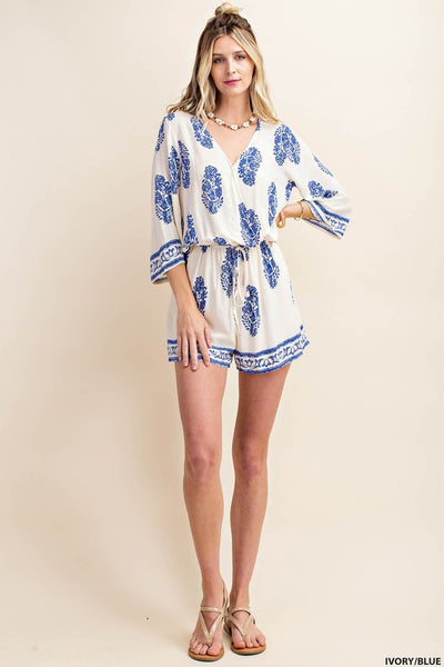 Summer Crossing Border Print Romper in Blue and Ivory - Essentially Elegant