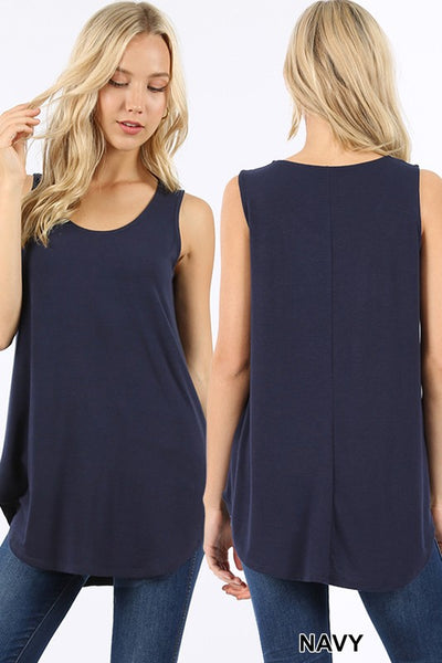 Keeping It Basic Sleeveless Tank Top with Round Hem in Navy - Essentially Elegant