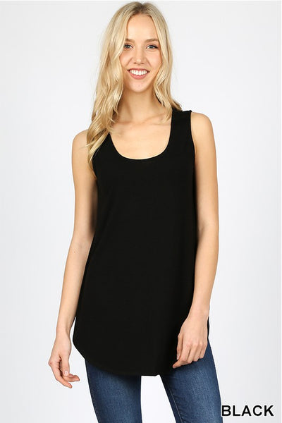 Keeping It Basic Sleeveless Tank Top with Round Hem in Black - Essentially Elegant