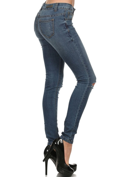Rock & Royal Mid Rise Distressed Skinny Jeans - Medium Blue Wash - Essentially Elegant