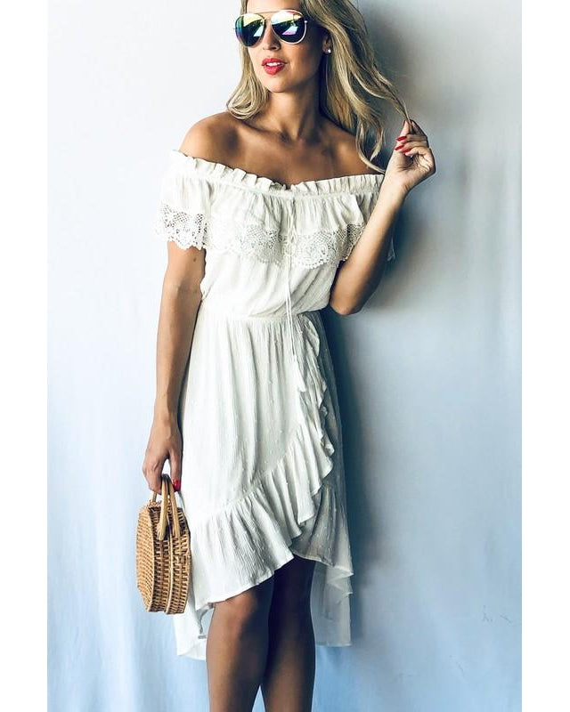 Coming Soon! Beach Babe Lace Trim Dress - Essentially Elegant