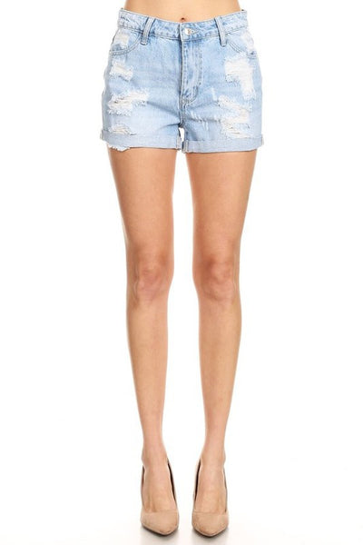 Hammer Jeans Premium Denim High Waisted Distressed Cuffed Jean Shorts - Light Blue Denim - Essentially Elegant