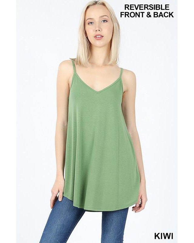 Best Basics Spaghetti Strap Reversible Tank Top in Kiwi - Essentially Elegant